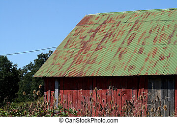 Red barn Green roof