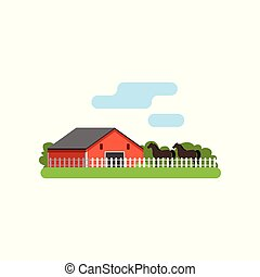 Red barn, horse in the corral on farm, rural landscape vector Illustration