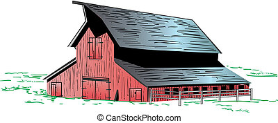Red Barn illustration - Illustration of a red barn graphic ...