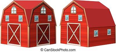 Red barn in 3D design