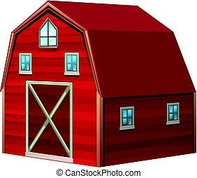 Red barn in 3D design