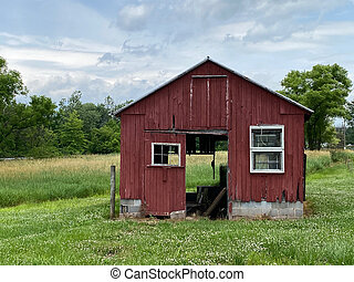 Red Barn in Field