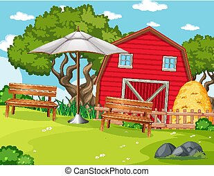 Red barn in nature farm  scene