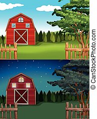 Red barn in the farm at day and night