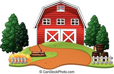 farm barn clip art. Red Barn In The Farm Clip Art P