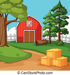 Red barn in the farmyard