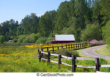 A red barn in a wildflower field with a fenced drive.