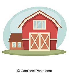 Red barn on farm