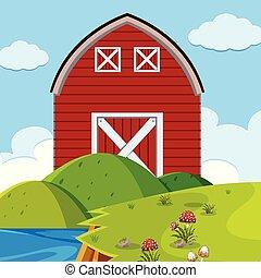 Red barn outdoors scene