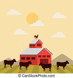 red barn over farm landscape