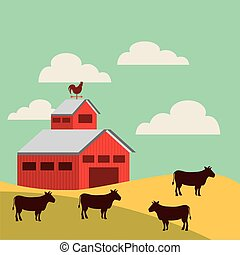 red barn over farm landscape