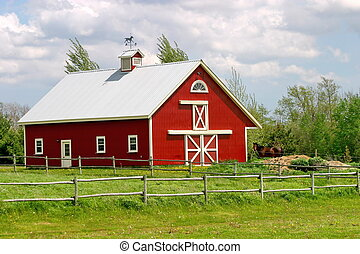 Red barn - Pretty rural red barn, hobby farm, horse farm,...
