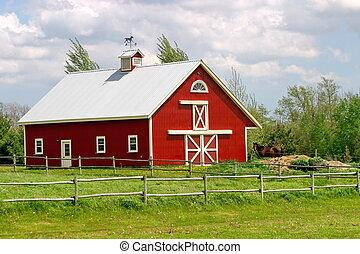 Red barn - Pretty rural red barn, hobby farm, horse farm,...