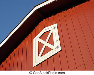 View of a red barn roof.