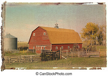 Red barn. - Polaroid transfer of red barn and fence in...