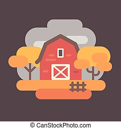 Red barn with autumn trees. Fall countryside landscape background flat illustration