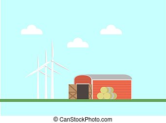 Red barn with bales of hay and wind generators nearby. Vector illustration flat style.
