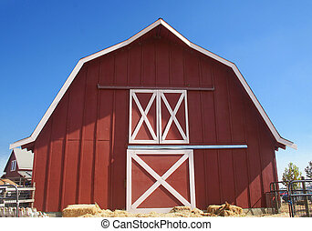 Red Barn with Blue Sky Background