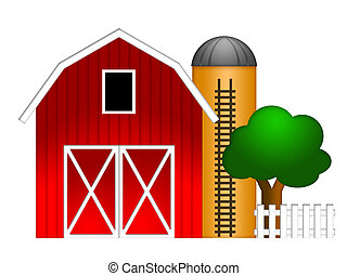 Red Barn with Grain Silo Illustration - Red Barn with Grain...