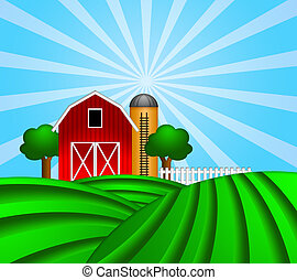 Red Barn with Grain Silo on Green Pasture Illustration - Red...