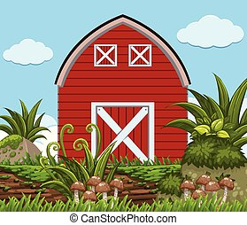 Red barn with plants