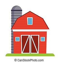 Red barn with silo, vector illustration