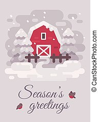 Red barn with trees in a winter country landscape. Christmas greeting card flat illustration. Seasons greetings