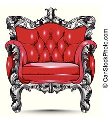 Red Baroque armchair. Furniture with Victorian ornamented fabric. Vector realistic 3D designs