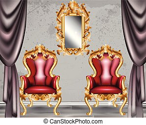Red Baroque glamour armchair. Furniture with Victorian ornamented fabric. Vector realistic 3D designs