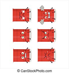 Red barrel cartoon character with various angry expressions