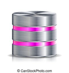 red, base de datos, disco, icono, vector., muy, detallado, ilustración, de, computadora, duro, disk., plata, cromo, metal., reserva, concepto, aislado, blanco