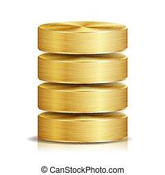 red, base de datos, disco, icono, vector., realista, ilustración, de, computadora, duro, disk., dorado, metal., reserva, concepto, aislado, blanco