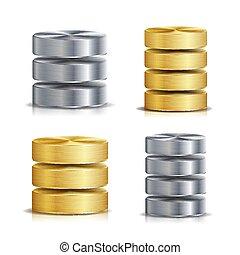 red, base de datos, disco, icono, vector, set., realista, ilustración, de, computadora, duro, disk., dorado, metal, plata, chrome., reserva, concepto, aislado, blanco