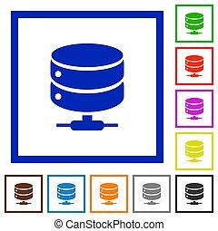 red, base de datos, plano, encuadrado, iconos