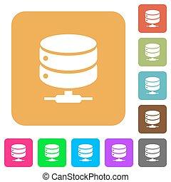 red, base de datos, redondeado, cuadrado, plano, iconos