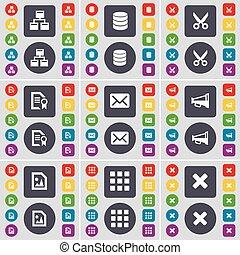 red, base de datos, tijeras, archivo, mensaje, megáfono, apps, parada, icono, símbolo., un, grande, conjunto, de, plano, coloreado, botones, para, su, design., vector