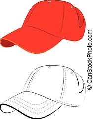 Red Baseball Cap - Simple baseball cap design in red and...