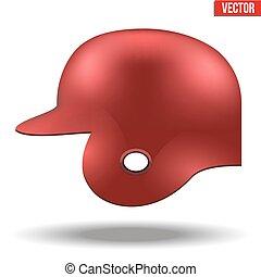Red baseball helmet