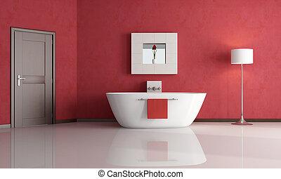 red bathroom - elegant minimalist red bathroom - rendering