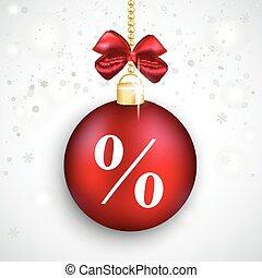 Red Bauble Percent Christmas Sale