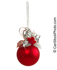 Red bauble - Red christmas bauble isolated on white