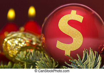 Red bauble with the golden shape of a Dollar symbol. (series)
