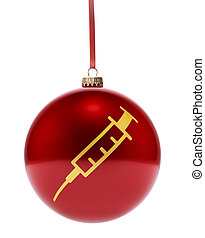 Red bauble with the golden shape of a syringe.(series)