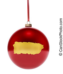 Red bauble with the golden shape of Puerto Rico.(series)