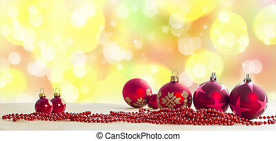 Red Baubles On Lights Background