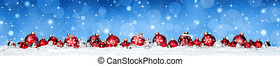 Red Baubles On Snow With Snowfall and Blue Heaven - Christmas Banner