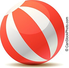 Red beach ball vector illustration isolated on white background