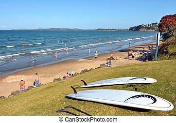 Red Beach in Auckland, New Zealand - AUCKLAND, NZL - JAN 04 ...