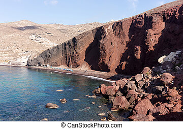 Red beach in Santorini, Cycladic Islands, Greece