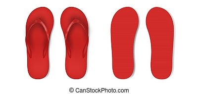 Red beach slippers icon - Vector